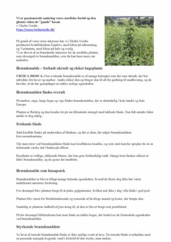 Herba Nordic. Alternative Behandlere Net. Equitox. Verimmun. Brændenælde. Urter. Helbrd. Immunforsvar.